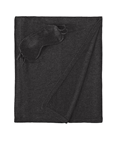 a & R Cashmere 3-Piece Travel Set - Throw, Eyemask and Bag, Charcoal Grey
