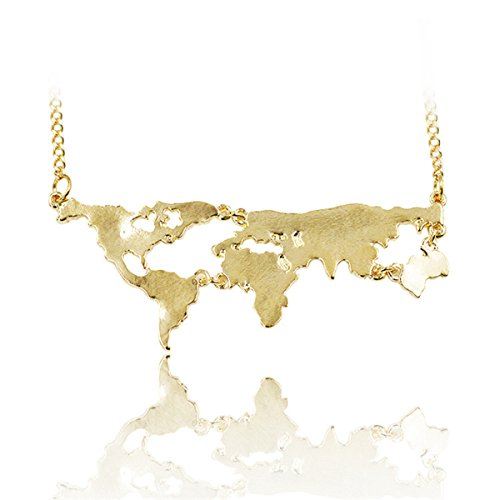 World Continents Pendant World Map Necklace - Gold (Map Ring compare prices)
