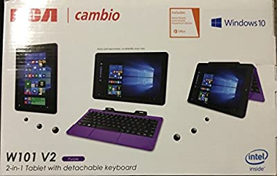 "RCA Cambio 10.1"" 2-in-1 Tablet 32GB Intel Quad Core Windows 10 Purple Touchscreen Laptop Computer with Bluetooth and WIFI"