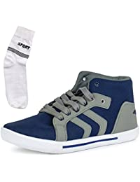 Maddy Men's Grey Synthetic Leather Sneaker Shoes WIth Socks