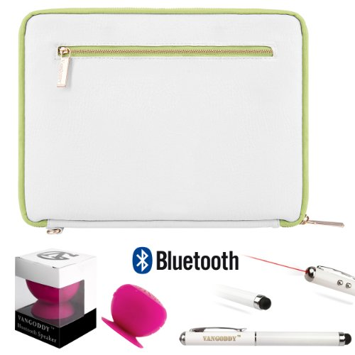 Faux Leather Carrying Bag Sleeve Case For Toshiba Encore Wt8 8-Inch Tablet (Wt8-A32, Wt8-A64) + Bluetooth Suction Speaker + Stylus