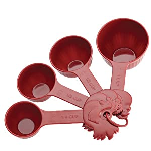 Paula Deen Signature Kitchen Tools 4-Piece Melamine Rooster Measuring Cup Set