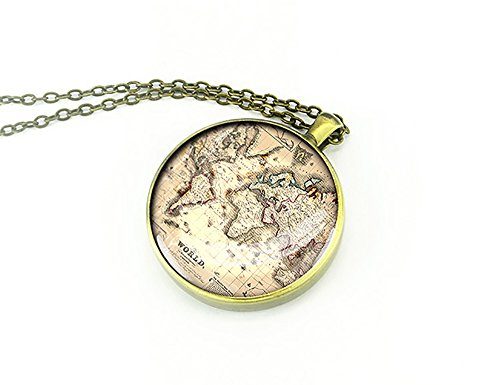 1842-world-map-necklace-round-silver-pendant-love-gift-for-girlfriend