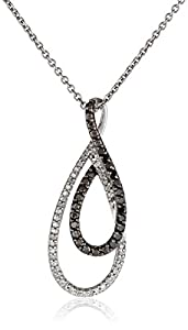 Sterling Silver Black and White Diamond Twist Drop Pendant Necklace (1/6 cttw, ), 18