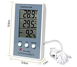Surborder Shop Digital Lcd Thermometer Indoor/outdoor Thermometer Humidity Hygrometer with Clock