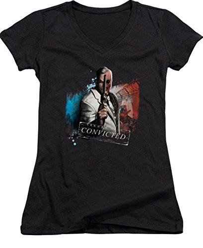 Batman Arkham City Two Face Ladies Junior Fit V-Neck T-Shirt