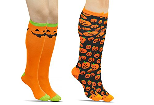 Halloween Pumpkin Knee Socks-Pack of 2