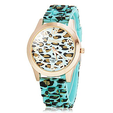 Rayshop - Women'S Leopard Print Round Dial Silicone Band Quartz Analog Wrist Watch (Assorted Colors) ( Color : Blue )