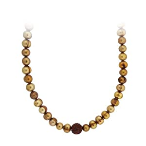 Sterling Silver Champagne Freshwater Pearl and Crystal Fireball Necklace, 18