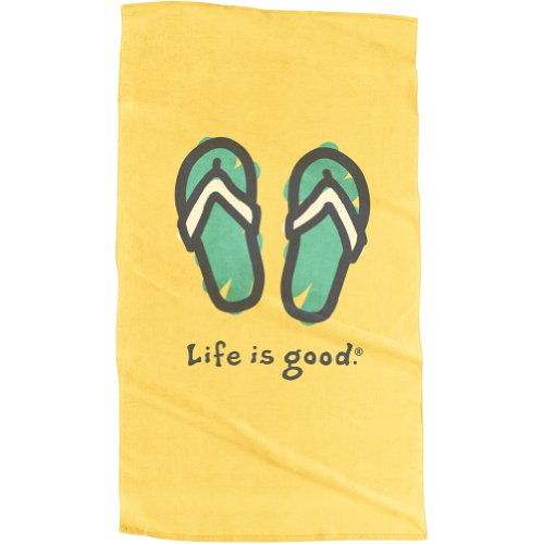Life Is Good Boy'S Flip Flops Beach Towel,Yellow,One Size front-947204