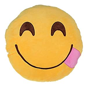 Emoji Smiley Emoticon Yellow Round Cushion Pillow Stuffed Plush Soft Toy by asc