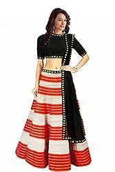 The Zeel Fashion Red Color bhaglpoori Anarkali Unstitched lehegas set
