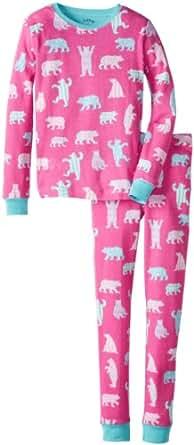 Hatley Big Girls'  Patterned Bears Pajama Set, Pink, 12