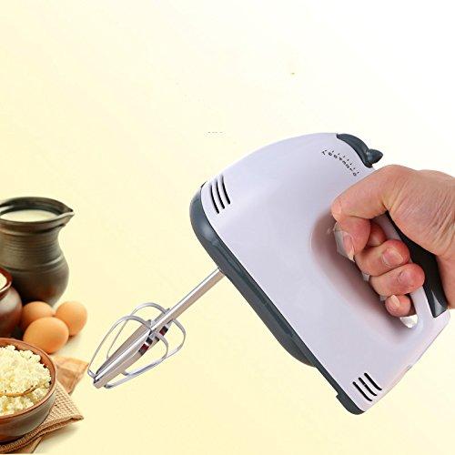 Petit Fouet de Cuisine Electrique avec Double Têtes plus Efficace Emulsionneur de Lait Mousseur à Lait Mélangeur Batteur Mixeur en Acier Inoxydable avec 7 Modes pour Crèmes Cafés au lait œufs etc.