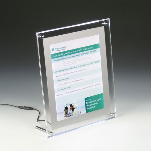 Displays2Go Illuminated Picture Frame For 8.5 11 Inches Photos, Tabletop Or Wall - Clear Acrylic (Apflp8511)