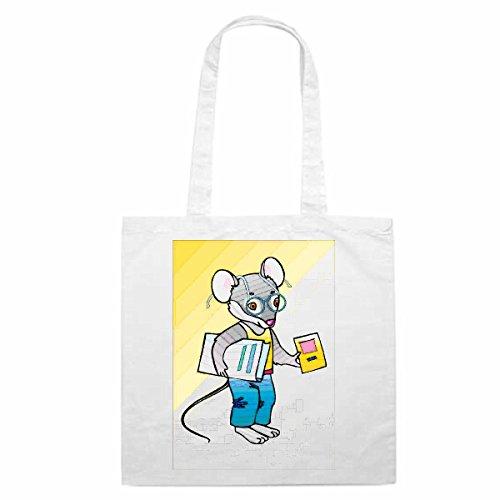Tasche Umhängetasche Motiv Nr. 11508 Mäuserich Nero geht zur Schule Cartoon Comic Zeichentrick Einkaufstasche Schulbeute
