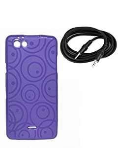 Xolo One Exclusive Textured Purple Soft Back Case Cover Back Cover+ Free 3.5 MM Aux Audio Cable -ECellStreet