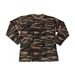 US Tactical Combat Army Military Mens Long Sleeve T-Shirt Woodland Camo SIZE L by CamoOutdoor