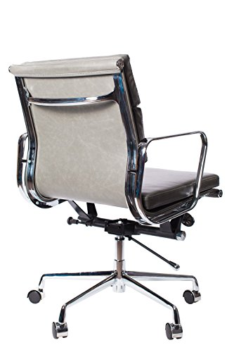 Vintage Grey Premier Leather Soft Pad Executive Management Office Replica Chair Swivel and Polished Aluminium Frame - Low Back 2