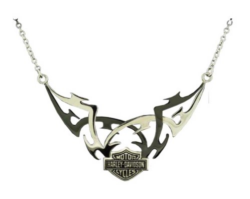 Harley-Davidson Stamper Silver/Black Bar & Shield Tribal Design Necklace STN7048