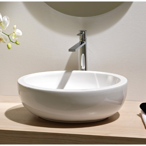 Scarabeo Scarabeo 8112-No Hole-637509863685 Luxury Vessel Ceramic Bathroom Sink, White