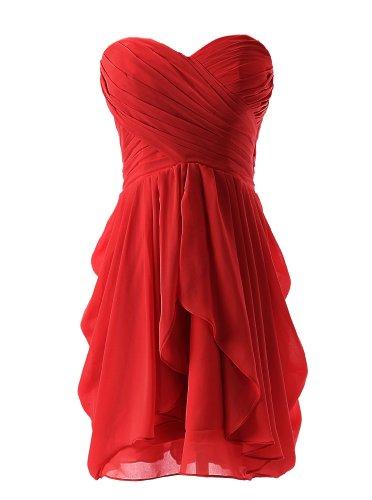 Dressystar Short Strapless chiffon party dress evening dress Red 2
