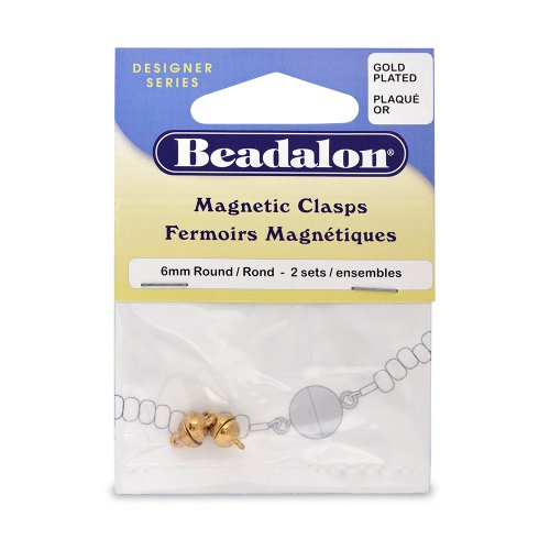 Beadalon Magnetic Clasp 6Mm Round Nickel Free Gold Plated, 2-Set