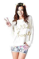 [The Classic Brand] Cream Gold Wild Heart Distressed Sweater Small