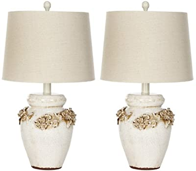 Safavieh Lighting Collection Marquesa Cream Vase 24-inch Table Lamp (Set of 2)