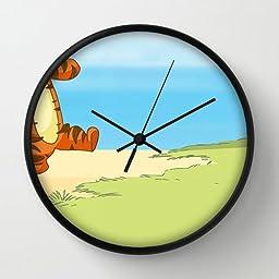 10 Inch Art Wall Clock Winnie The Pooh 1 Black Frames Wall Decor Clock