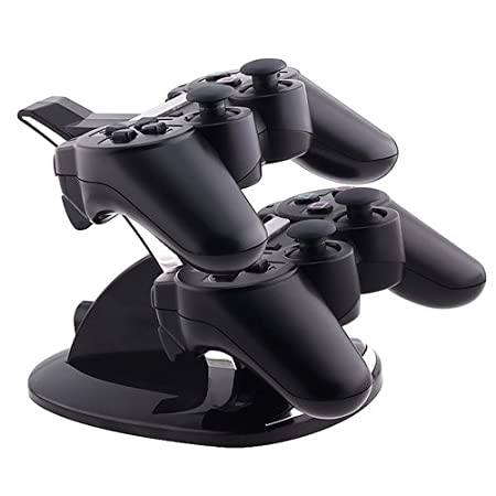 eForCity Dual Charge Station with Stand for PS3 Controller, Black