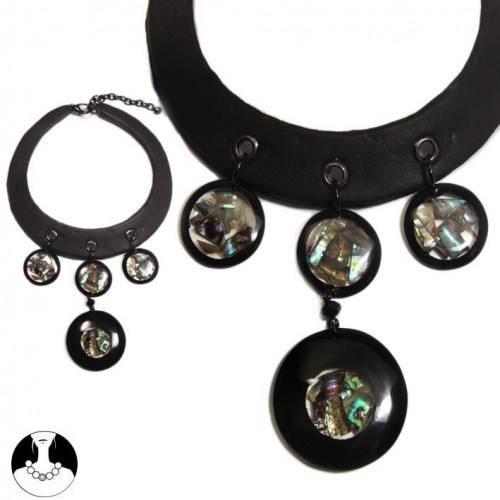 sg paris women necklace choker leather 36 cm + ext black resine blue shell shell