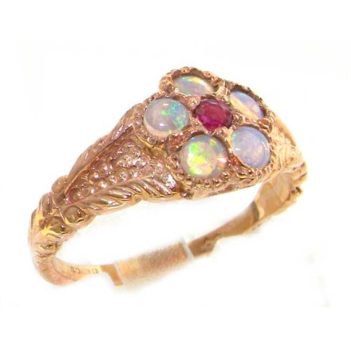 Luxury 9ct Rose Gold Ladies Ruby & Fiery Opal Vintage Style Cluster Ring - Size R 1/2 - Finger Sizes K to Z Available - Perfect gift for Anniversary, Engagement, Wedding, First Child