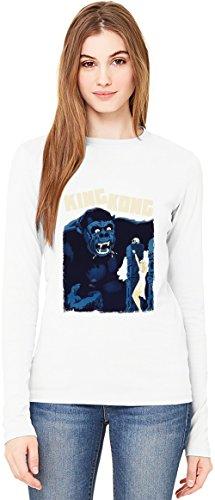 King Kong T-Shirt da Donna a Maniche Lunghe Long-Sleeve T-shirt For Women| 100% Premium Cotton Ultimate Comfort X-Large