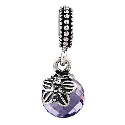 TAOTAOHAS antico genuino sterling 925 argento charms ciondoli pendente beads perline [ mattina farfalla, Tanzanite ] bracciali europea, cristallo w
