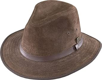 Henschel Hats Safari GENUINE LEATHER Lined Fedora Hat (Large, Brown)