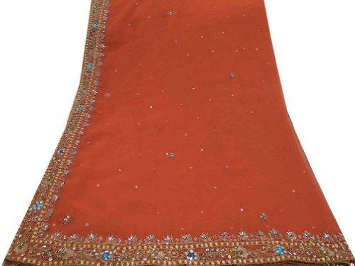 donne Indian Head sciarpe avvolgenti epoca tessuto georgette lunga sciarpa arancione a mano di perline decorazioni per la casa in tessuto riciclato Dupatta rubato hijab