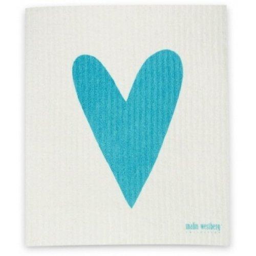 Swedish Dishcloth, Turquoise & Green, Set Of 3 All Heart (Ha) Designs front-744619