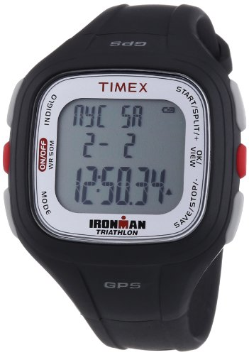 Timex T5K754 Ironman Easy Trainer GPS Black Resin Strap Full Size, Black