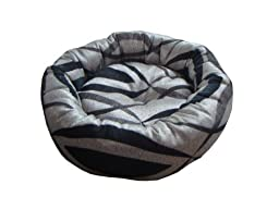 Anima Silver Black and Grey Woven Donut Bed, 28 by 6-Inch, Large