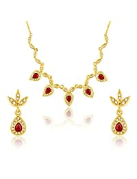Oviya Gold Plated Red Leafy-Dew Necklace Set With CZ & Ruby Stones For Women NL2103197G