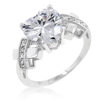 White Gold Rhodium Bonded Heart Engagement Ring with Clear Cubic Zirconia Accents