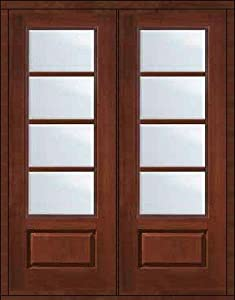 Impact resistant french double door 96 fiberglass 3 4 lite for 96 inch exterior french doors