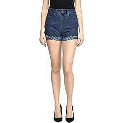 Hypernation Blue Color Cotton Lycra Shorts
