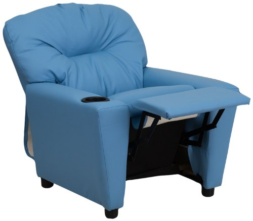 Contemporary Light Blue Vinyl Kids Recliner with Cup Holder [BT-7950-KID-LTBLUE- BT-7950-KID-LTBLUE-GG