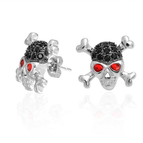 Christmas Gifts Bling Jewelry Silvertone Black Ruby Color CZ Eye Skull Cross Bones Stud Earrings