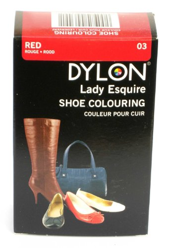 1 x Dylon 20ml Sachet Lady Esquire Leather & Synthetic Red Shoe Boot Colouring