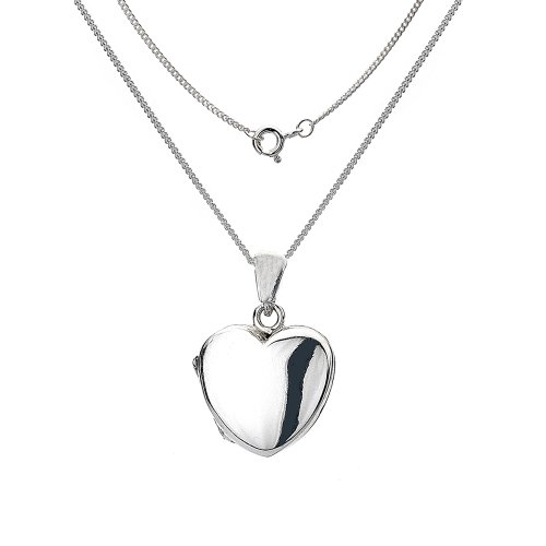 Silver Plain Small Heart Shaped Locket with a Plain Curb Chain 35.5cm