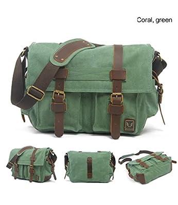 Cooler Mens Boys Vintage Canvas Shoulder Military Messenger Bag school Bags by Cooler