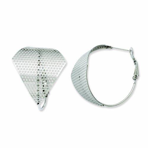 Genuine Chisel (TM) Earrings. Stainless Steel Fancy Cut Out Hoop Earrings. 100% Satisfaction Guaranteed.